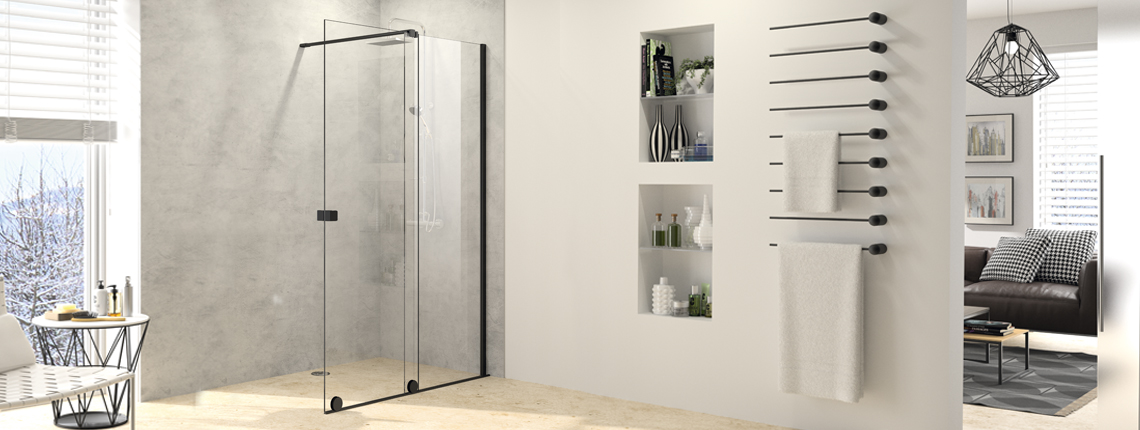 Walk-In Dusche HÜPPE Xtensa pure in Black Edition
