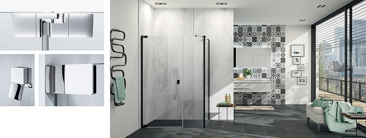 Dusche HÜPPE Studio Berlin pure in Black Edition mit Duschrückwand HÜPPE EasyStyle